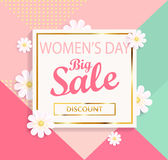 Women`s day big sale geometric background. Stock Photography