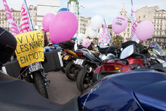 Women's Day: bikers rally. Marseille, France: March 6th, 2011. Motorcycle rally for the Women's Day in the Vieux-Port, Marseille, FR royalty free stock photo