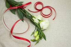 Women`s day. A bouquet of white flowers as a gift for girls on the spring holiday Stock Images