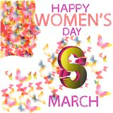 Women`s day, butterfly women. 3D 8. march 8. 3D march 8.happy pink women`s day vector illustration