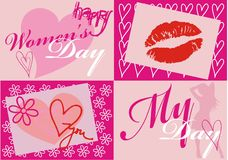 Women's day card. Pink card for women's day illustartion Royalty Free Stock Photos