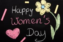 Women`s day card - Chalk drawing. On blackboard Stock Photos