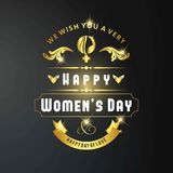 Women\'s day card with dark background vector. For web design and application interface, also useful for infographics. Vector illustration Royalty Free Stock Image