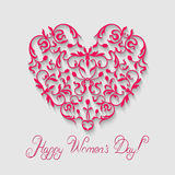 Women's day card. Elegance shape of heart with greeting text. Vintage style.  Vector  floral ornament on the light background Royalty Free Stock Photo