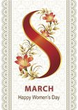 March 8 greeting card with a floral pattern of lilies. Women`s Day card with a floral pattern of lilies on a background of hearts Royalty Free Illustration