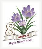 Women`s day card. Greeting card with a bouquet of crocuses and silver ribbon for Women`s Day Stock Photo
