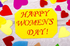 Women`s Day card and hearts. Stock Photography