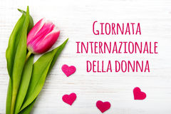 Women`s day card with Italian words `Giornata internazionale della donna`. Tulip flower and small heart on white wooden background Stock Images