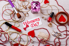Women`s Day card and jewelry Stock Photos