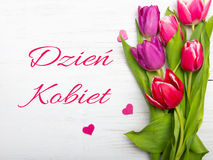 Women`s day card with Polish words DZIEŃ KOBIET. Stock Images
