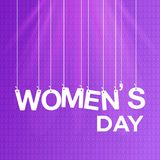 Women\'s day card with purple pattern background. For web design and application interface, also useful for infographics. Vector illustration stock illustration