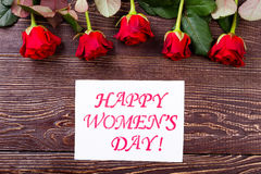 Women`s Day card and roses. Royalty Free Stock Photos