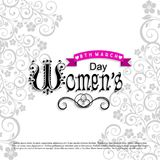 Women\'s day card with white pattern background. For web design and application interface, also useful for infographics. Vector illustration Stock Image