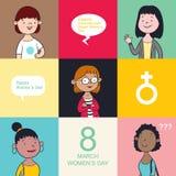 Women`s day cartoon vector illustration