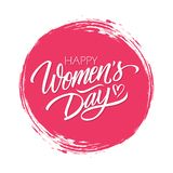 Women`s Day celebrate card with handwritten lettering text design Happy Women`s Day on red circle brush stroke background. vector illustration