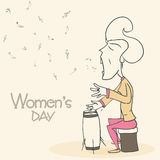Women's Day celebration with young lady character. Royalty Free Stock Image