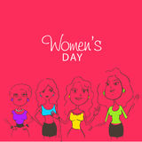 Women's Day celebration with young lady characters. Royalty Free Stock Photo