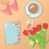 Women`s day close up with cup of coffee, shoes, flowers,marshmellows and a postcard. Postcard to March 8, with paper flowers. Illustration can be used in the stock illustration