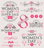 Women`s Day design elements and sale badge. Vector set of Women`s Day decorations isolated on white background. Collection of elements for March 8th design royalty free illustration