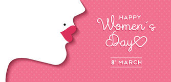 Women's Day design with girl face and text label. Happy International Women's Day on March 8th design background. Illustration of woman's face profile with retro Stock Image