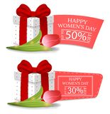 Womens Day Discount Banners with Gift Box and Tulip. Gift Box with Red Bow. Voucher, flyers, invitation, posters. Vector. royalty free illustration
