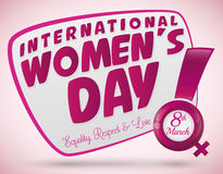 Women's Day with a Exclamation and Woman Symbol, Vector Illustration Stock Photo