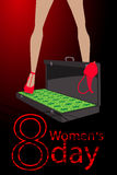 Women s Day. feet in the case with money dollars Royalty Free Stock Photo