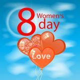 Women s Day is a figure eight clouds balloons. In the shape of heart. illustration. use a smart phone, website, printing, decorating etc Royalty Free Stock Photography