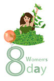 Women s Day is a figure-eight girl in a pile of money Royalty Free Stock Images