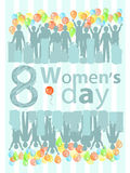 Women s Day is a figure eight guys with a gift. Illustration. use a smart phone, website, printing, decorating etc Royalty Free Stock Photos