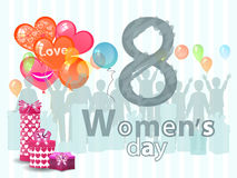 Women s Day is a figure eight pattern silhouette. Women s Day is a figure eight pattern with silhouette. illustration. use a smart phone, website, printing Stock Photos