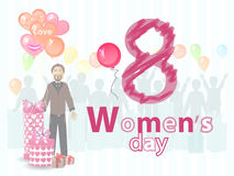 Women s Day is a figure eight pattern. With silhouette of a man with a giant gift. illustration. use a smart phone, website, printing, decorating etc Royalty Free Stock Image