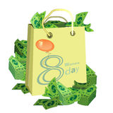 Women s Day is a figure eight shopping bag money Royalty Free Stock Photos