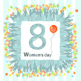 Women s Day is a figure of eight square balloon. Illustration. use a smart phone, website, printing, decorating etc Stock Photos