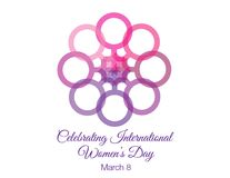 Women`s Day flower graphic and text. Women`s Day flower graphic made up of female symbol and text stock photos