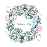 Women's day, flower wreath. In tender colors, hand drawn Stock Photo