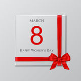 Women`s day gift box with red ribbon and bow. Vector illustration. 8 march background. Women`s day gift box with red ribbon and bow. Vector illustration Stock Images
