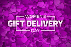 Women`s Day Gift Delivery Vector Illustration Stock Photos