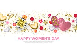 Women`s day greeting card banner of gold heart, gift box decoration with chocolate candy background for 8 March. Women`s day greeting card banner of gold heart stock illustration