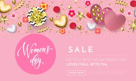 Women`s day greeting card banner of gold heart, gift box decoration with chocolate candy pink background for 8 March. Women`s day greeting card banner of gold stock illustration