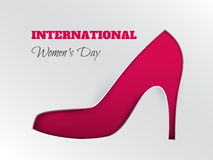 Women`s day greeting card with cuted silhouette of pink shoe. Vector illustration of International women`s day, 8 March holiday greeting card with cuted royalty free illustration