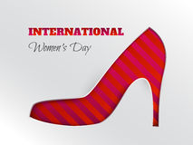 Women`s day greeting card with cuted silhouette of pink striped shoe. Vector illustration of International women`s day, 8 March holiday greeting card with cuted royalty free illustration