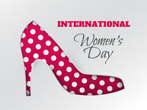 Women`s day greeting card with cuted white-dotted pink silhouette of shoe. Vector illustration of International women`s day, 8 March holiday greeting card with stock illustration