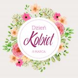 Women`s Day greeting card with flowers in Polish. Women`s Day greeting card with flowers and words in Polish Vector Illustration