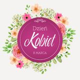 Women`s Day greeting card with flowers in Polish. Women`s Day greeting card with flowers and words in Polish Royalty Free Illustration