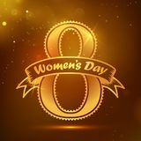 Women`s Day greeting card. Women`s Day greeting card with golden emblem and shiny background. Vector illustration for 8th of March Royalty Free Stock Images