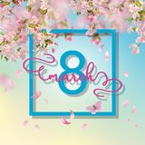 Women`s Day Greeting Card. Happy women`s day spring vector background. Greeting card on March 8 Stock Images