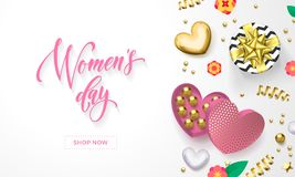 Women`s day greeting card of heart gift box decoration with chocolate candy in golden wrapper for 8 March. Vector text calligraphy and gold confetti for Happy royalty free illustration