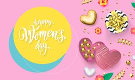 Women`s day greeting card of heart gift box decoration with chocolate candy in golden wrapper for 8 March. Vector text calligraphy and gold confetti for Happy vector illustration