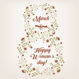 Women s day greeting card march. Happy Women s day greeting card march 8, design Royalty Free Stock Photos